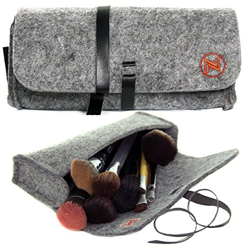 Felt Makeup Brusher Organizer Fashionable Bag Brushes Brush Case Holder Cosmetic Travel Small and Soft with Wrap-around Leather Strap, Gray