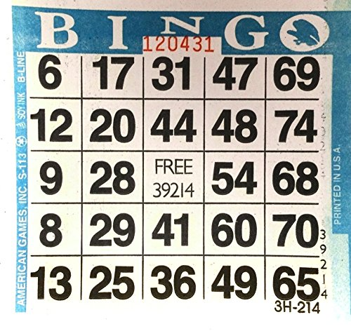 1 on Blue Bingo Paper Card Sheets (500 Sheets Per Pack) by American Games (Game Bingo Sheets)