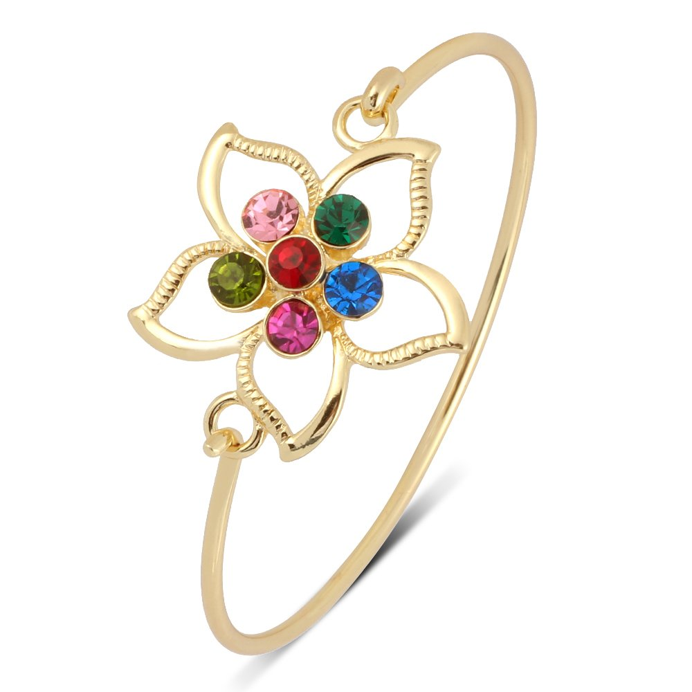 RUXIANG Flower Tulip Bangle Opening Wire Cuff Bracelet Jewelry for Women Girls