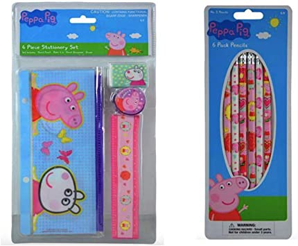 Peppa Pig Pencil Case With Accessories Stationery Set Kids US Seller New