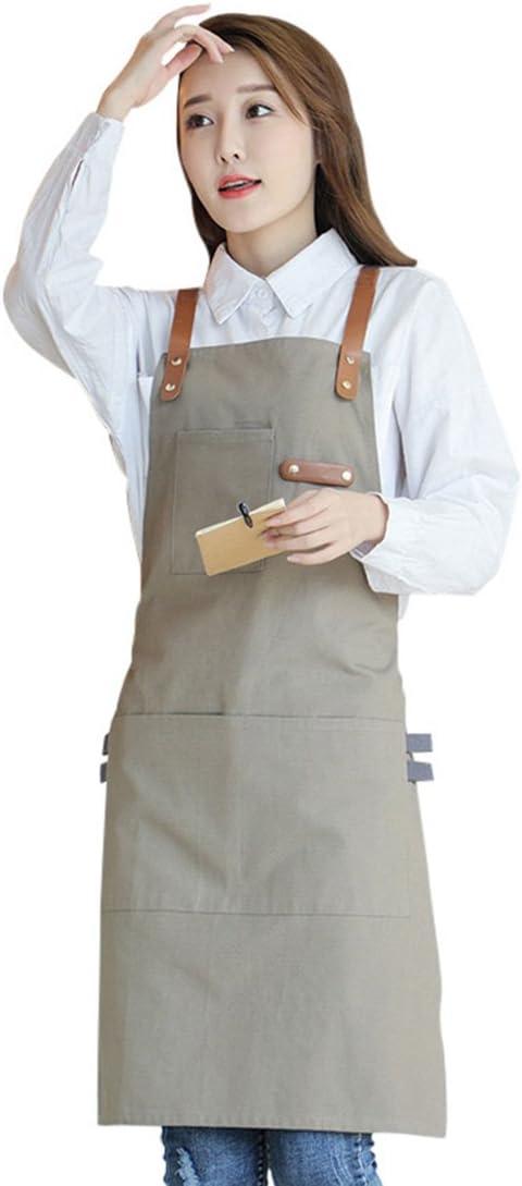 Pinji Delantal de Lona para Cocina, Delantal Ajustable con Bolsillos para Mujeres Hombres Diseño de la Cruz Trasera para Hornear, Restaurante, Jardinería, Barbacoa Caqui