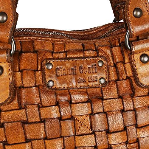 Womens Pavia Leather Woven Weave Gianni Cognac Conti Grab Bag 5AIxqEwt