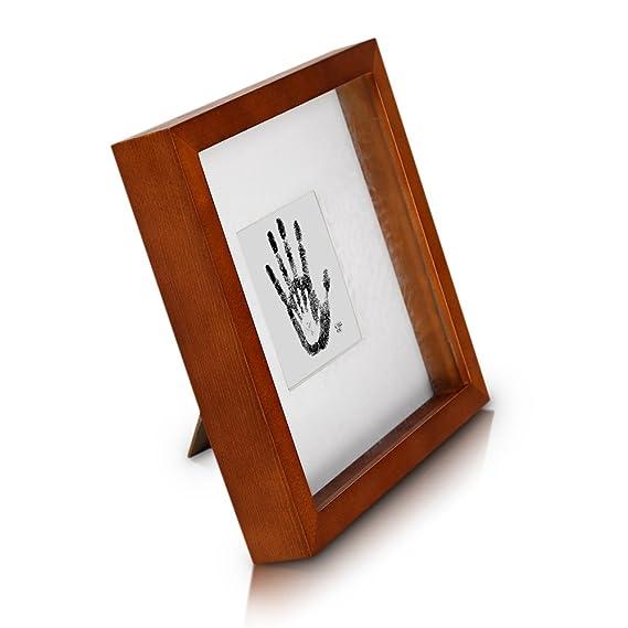 Classic by Casa Chic - Quadratischer Box-Bilderrahmen aus Echtholz - rustkales Braun - 23x23 cm und 4,5 cm tief - Sicherheits