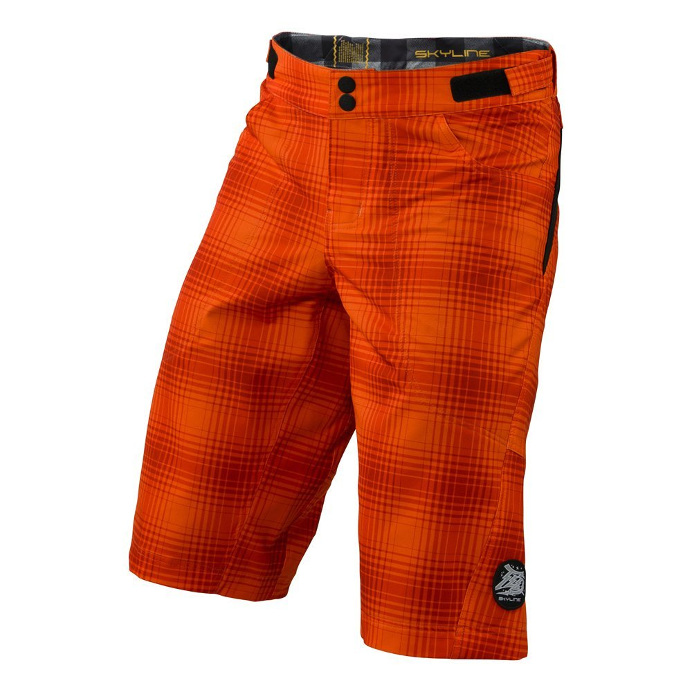 Troy Lee Designs Boys Skyline Plaid BMX Racing Short, Orange, 26