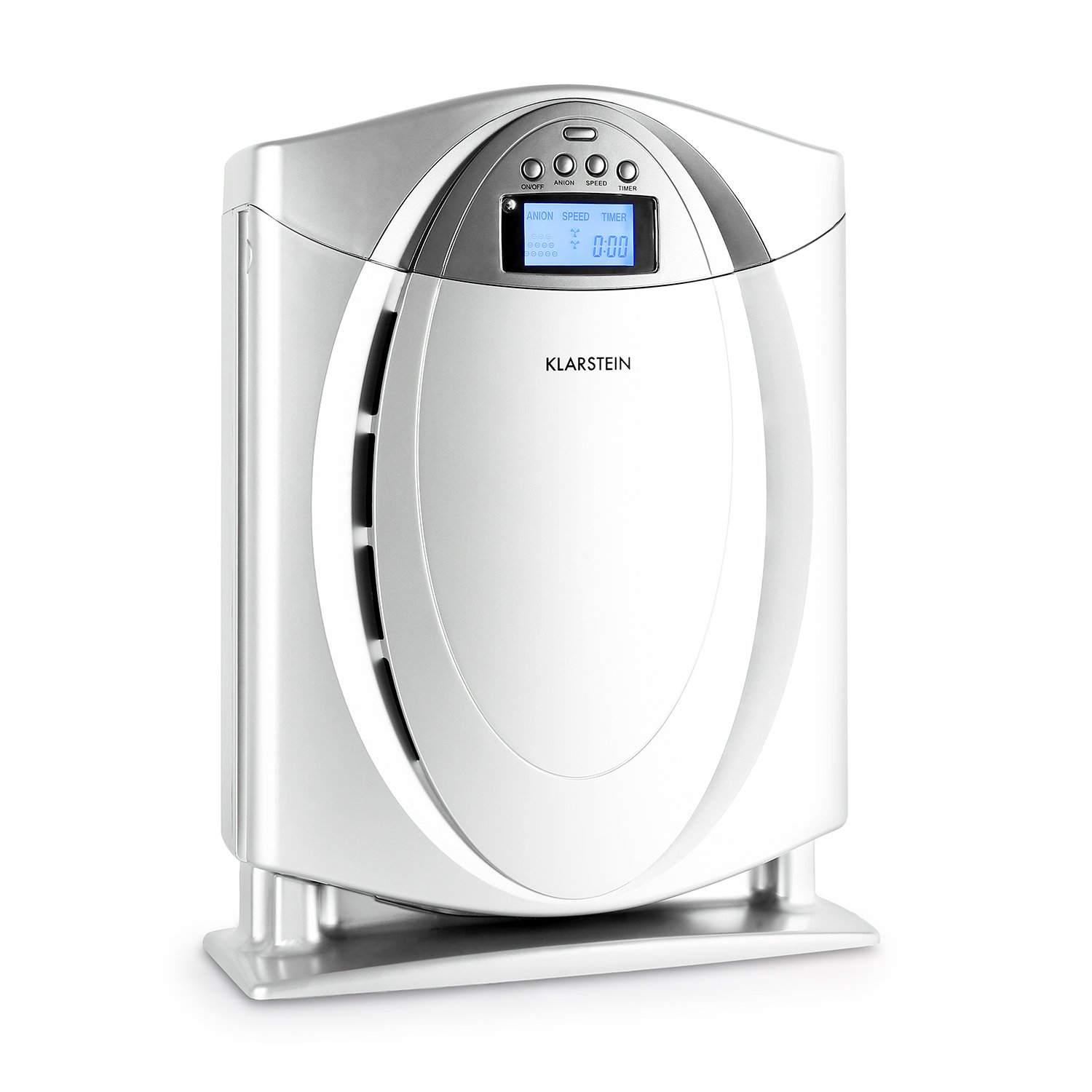 KLARSTEIN Grenoble 4-in-1 Air Purifier with HEPA Filter Switchable Ionizer Allergen, Odors, Smoke, Dust Remover Quiet Operation LCD Display Memory function Silver