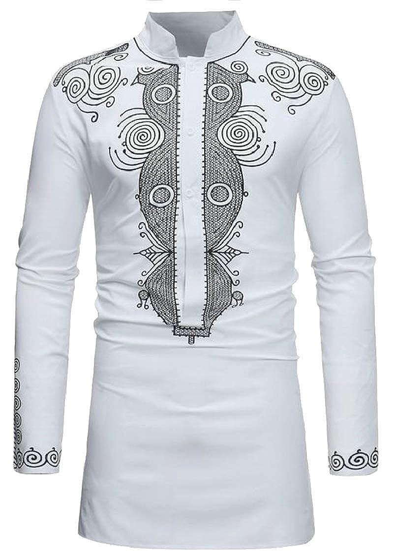 Hajotrawa Men Muslim Ethnic Style Stand Collar Floral Printed Classic Midi Button Down Shirts