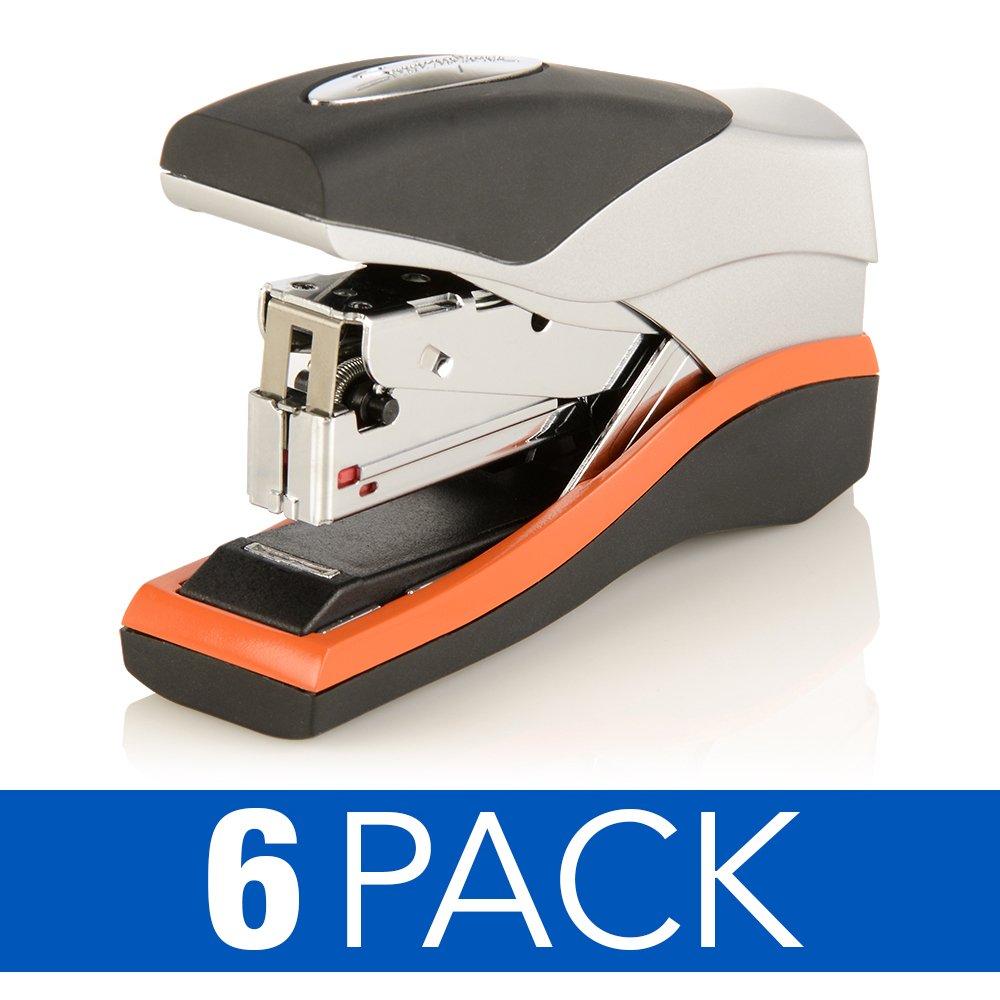 Swingline Staplers, Optima 40, Compact Desktop Stapler, 40 Sheet Capacity, Low Force, Orange/Silver/Black, 6 Pack (S7087842CS)