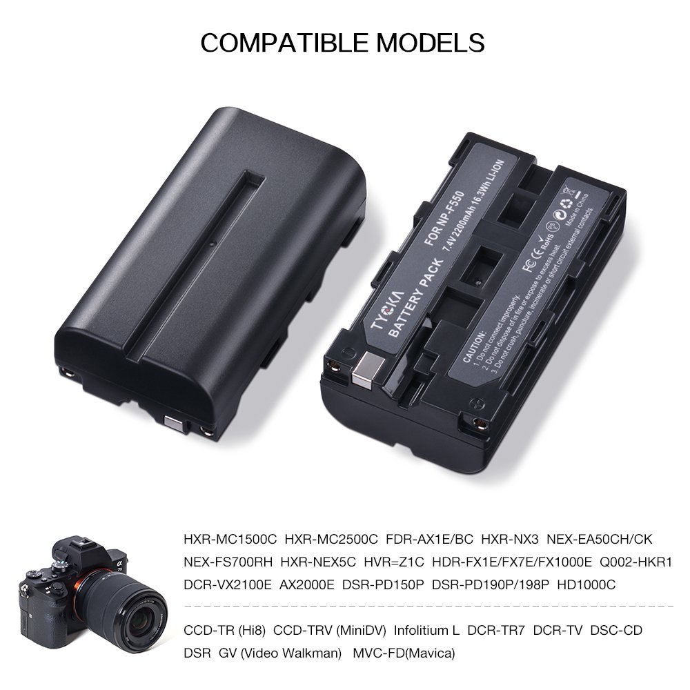 Comes with 5V//1A Charger and USB Cable, Multi Models 2200mAh Replacement Battery and Charger Kit for Sony Camera Camcorder HandyCams LED Video Light Using NP-F550//F570//F530 Batteries 2 Pack