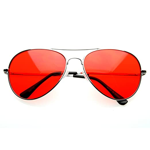 e51215484f Image Unavailable. Image not available for. Color  MLC EYEWEAR Retro  Classic Aviator Ultra Red Tint Edition