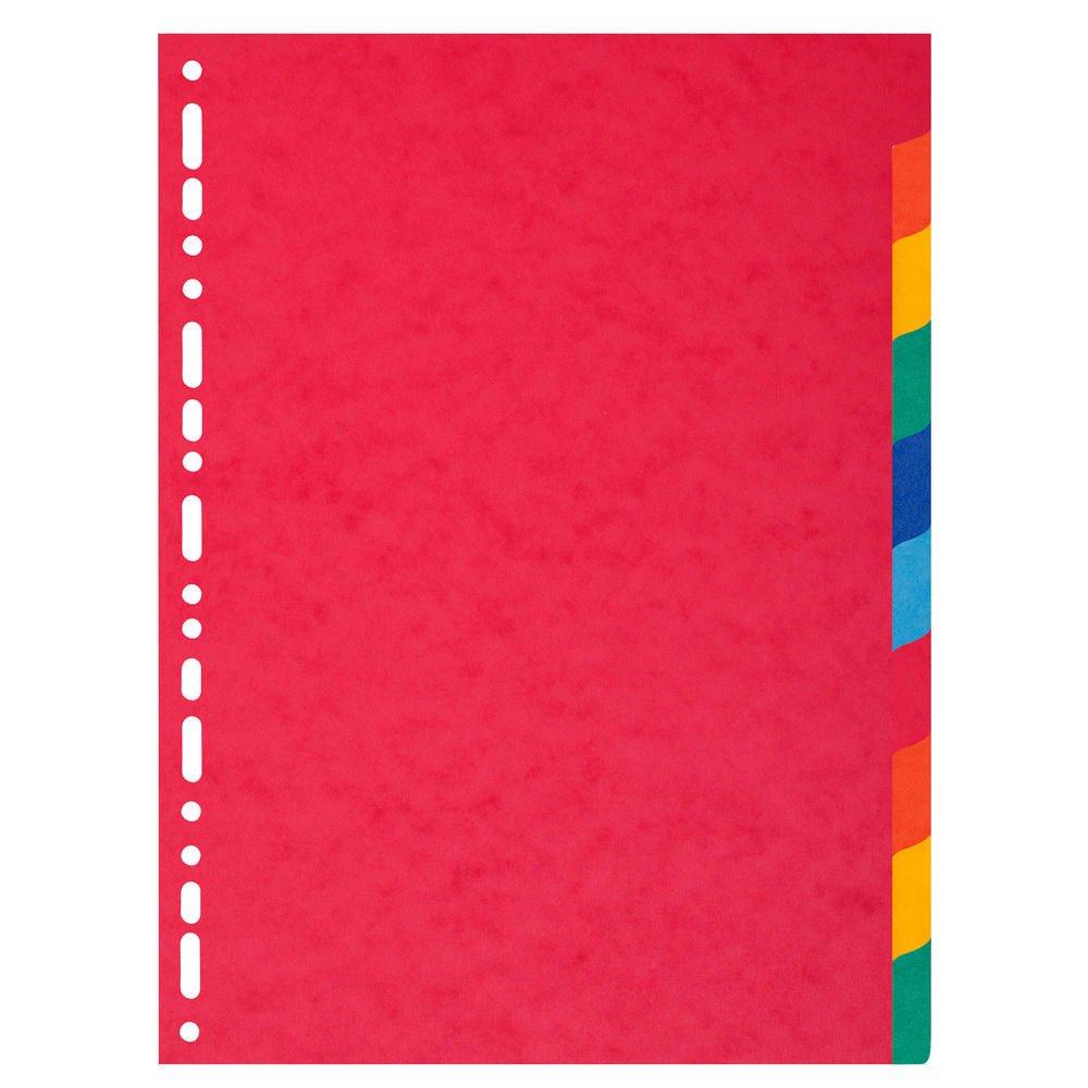 Exacompta - Divisori a 10 posizioni per raccoglitore, extra larghi, tinta unita, in carta riciclata, formato A4 ExaClair 2110E