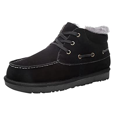 Men's Suede Leather Thicken Warm Faux Plush Lining Snow Boots Lace-up Ankle Boot Work Shoes