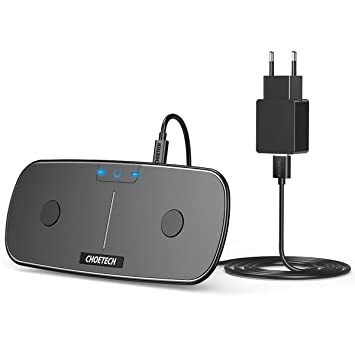 CHOETECH Cargador Inalámbrico Doble, QI Wireless Charger Qi Cargador 5W*2 Pad con Adaptador Compatible con iPhone XS/XS MAX/XR/X/8/8 Plus, Galaxy ...