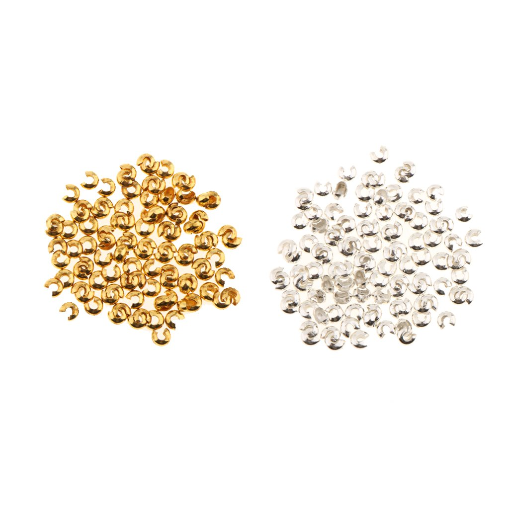 Fityle 200PCS Round Crimp Beads Knot Covers Gold Silver Plated for Jewelry Making