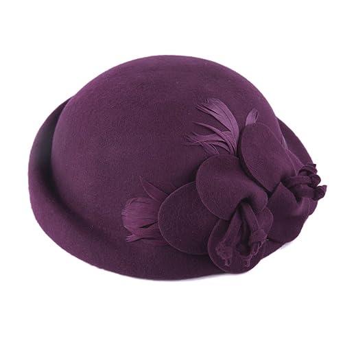 Flor Grande Otoño E Invierno Todo-fósforo Bóveda Ningunos Aleros Boina Sombrero Sombrero Hembra Elegante Sombrero Variedad Del Color