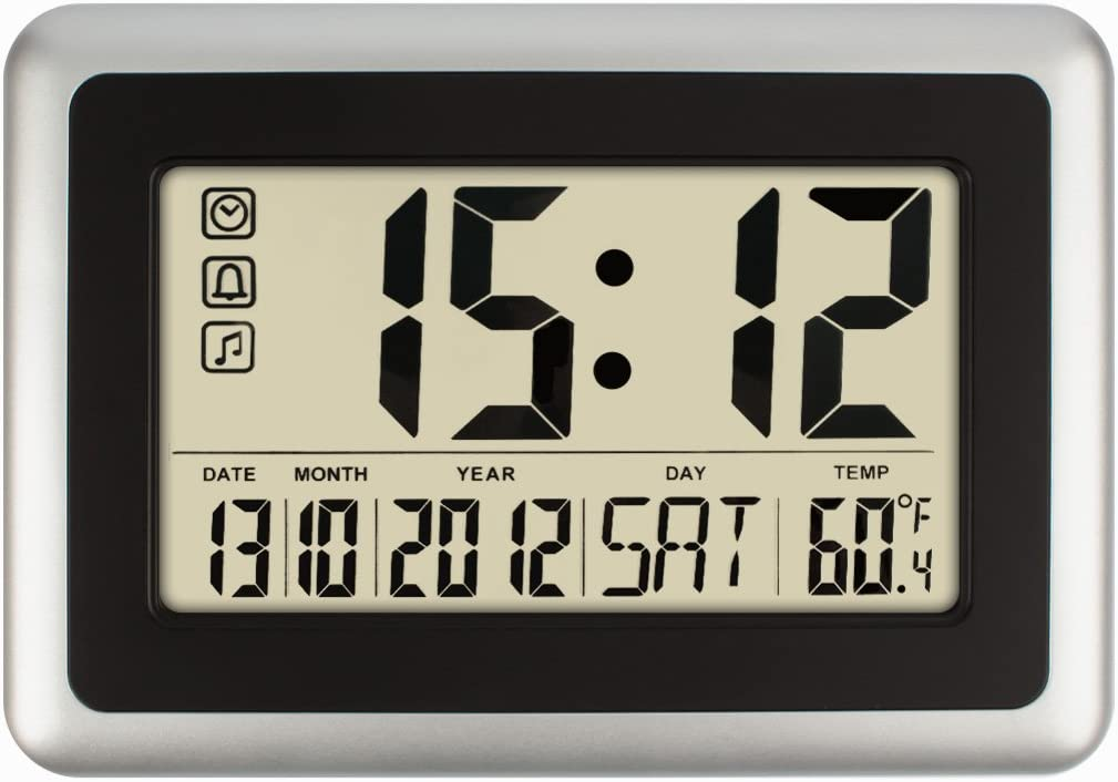 HIPPIH Electronic Alarm Clock - Full Digital Calendar Wall Clocks, Day Clock with Extra Large Digits - Perfect for Seniors,Oversized