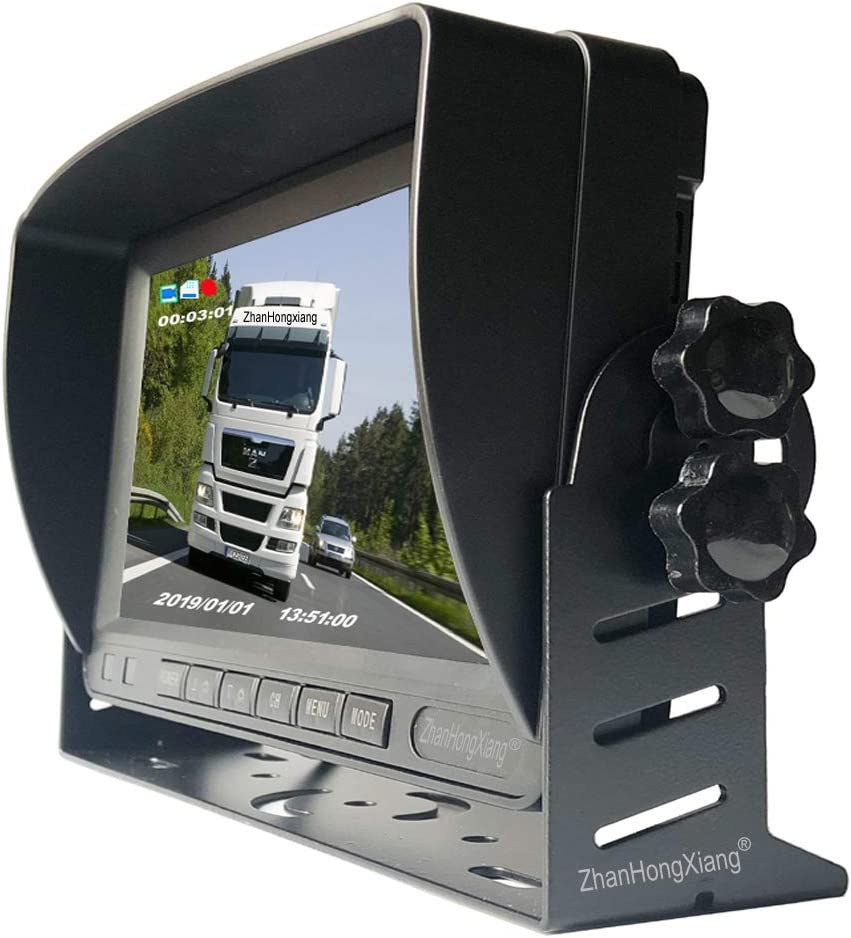 7 IPS LCD 4CH Quad Split Screen Monitor for RV Bus Truck 5th Camper FHD 1080P Backup Camera Monitor DVR System,4 x IR Night Vision Car Front Side Rear 360 View Dash Camera