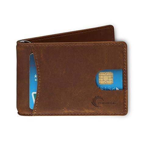 CHEREEKI RFID Bloqueo Billeteras Slim Bifold Cuero Cartera Minimalista Frente Bolsillo para Hombres con Titular de