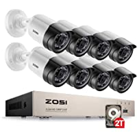 ZOSI 8 Channel HD-TVI 1080p Security Camera System,1080p Surveillance DVR Recorder with (8) 2.0MP 1920TVL Indoor/Outdoor Weatherproof Bullet Cameras,2TB Hard Disk Built-in