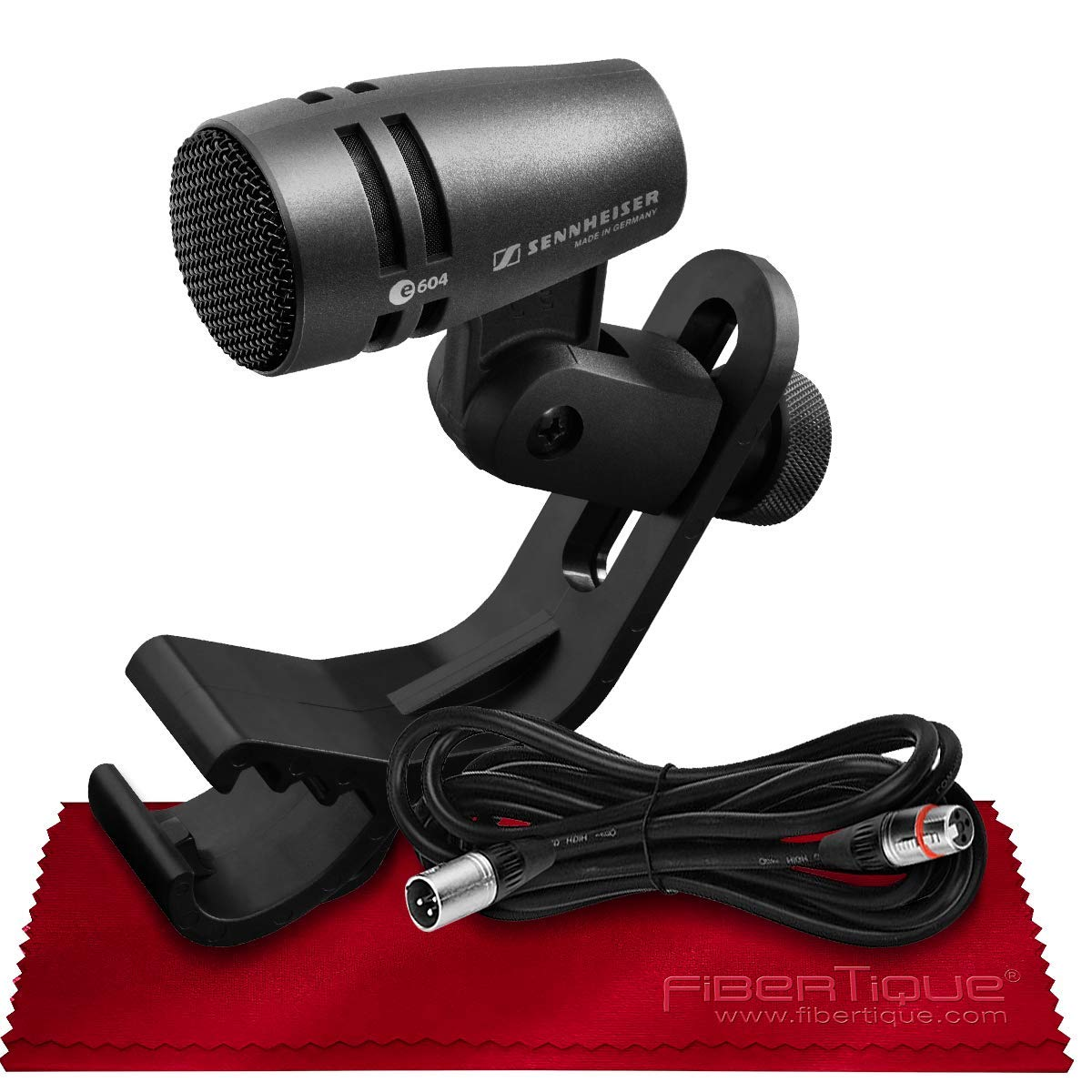 Sennheiser E604 Dynamic Cardioid Instrument Microphone for Snare and Toms with Pro Audio Cable Bundle by PS