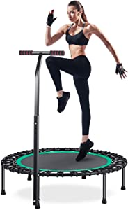 "HOMEOW Fitness Trampoline for Adults 40"" / 50"" 440/550 lbs Mini Trampoline Bungee Rebounder with Adjustable Handle Silent Personal Workout Indoor/Garden Heavy Duty Quiet Exercise Training"