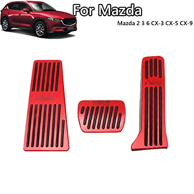Great-luck aluminium alloy Pedal Covers,No Drilling Accelerator Pedals Brake Foot Pedal Pads with Rubber Pull Tabs 3 pieces/set(red) for Mazda 2 3 6 CX-3 CX-5 CX-9: Automotive