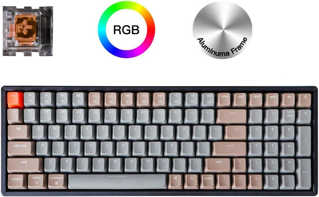 Keychron K4 Wireless Bluetooth/USB Wired Gaming Mechanical Keyboard, Compact 100 Keys RGB LED Backlit Optical Brown Switch N-Key Rollover, Aluminum Frame for Mac Windows