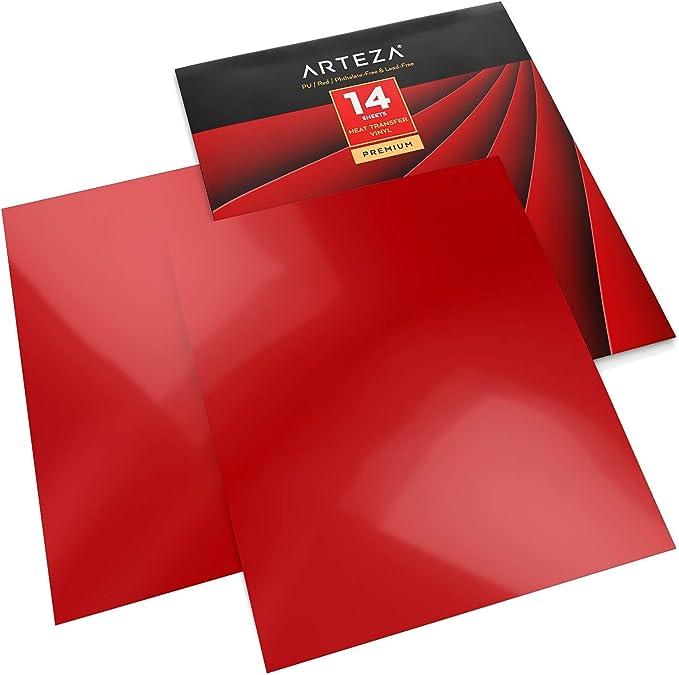 Arteza Vinilo textil termoadhesivo rojo| 25,4 x 30,5 cm | Caja de 14 hojas | Vinilo térmico resistente, fácil de pelar y sin tóxicos | Apto para cualquier máquina de corte |