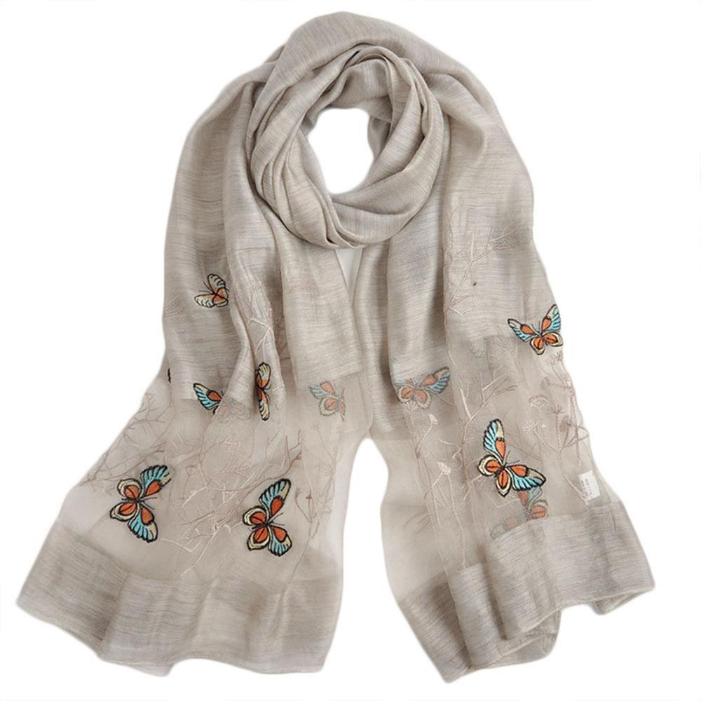 QJIAXING Moda primavera e autunno sottile farfalla modello sciarpa sciarpa della signora , light gray