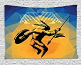 XHFITCLtd Native American Tapestry, War Dance Ritual Against Ancient Totem Poly Effect Triangles Abstract, Wall Hanging for Bedroom Living Room Dorm, 80 W X 60 L Inches, Pale Orange Blue