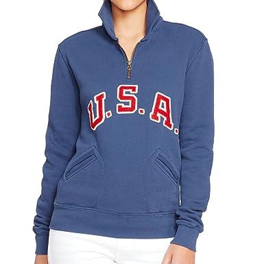 100% authentifiziert großer Verkauf Farben und auffällig Polo Ralph Lauren Women's Team USA Half Zip Sweater Brigham Blue