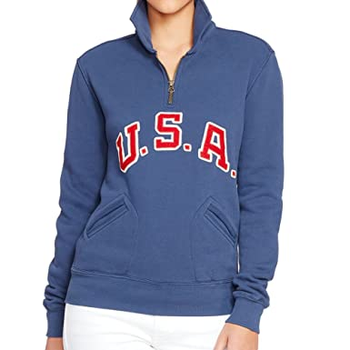 half off 765af 122d8 Polo Ralph Lauren Women's Team USA Half Zip Sweater Brigham Blue