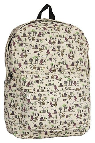 Travel Colourful Zip Beige Shop Backpack Toy Handbag Lightweight Large Unisex Pockets Soft School Big Bag 1ATq8xBwXA