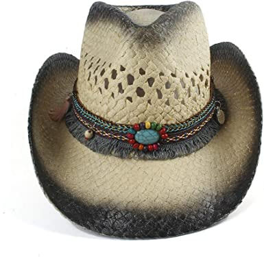 Cowgirl Cowboy Western Straw Hat Tea-Stained Beaded Summer Beach Sun Cap Onesize