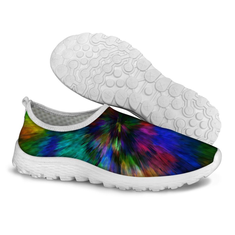 FOR U DESIGNS Neon Slip On Comfortable Mesh Walking Running Shoes Women Size 10