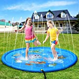 Pellor Splash Play Mat, Thickening PVC Inflatable Water Spray Pad Outdoor Garden Inflatable Sprinkler Water Mat Fun Toy Kids Baby Pool Pad Hot Summer Swimming Party