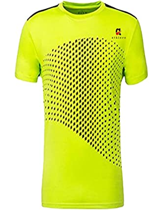 5dc3bb9a1 Athlero Dri Fit Yellow Round Neck Sports T shirt Black Dotted Design for  Men (S