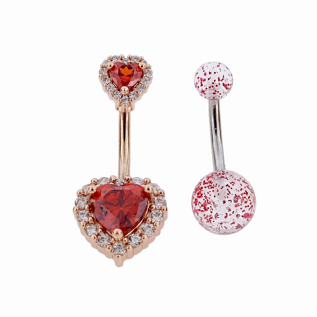 Rose Gold Plated White Heartshape Cubic Zirconia Body Jewelry Shiny Belly Button Rings Excepro Piercing Fairyland 316L Surgical Stainless Steel PVC