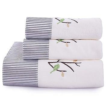BAOLIJIN Bath Towels Set Set de 3 Toallas de baño absorbentes de algodón con diseño de árboles Suaves Set de Toallas y Toallas de baño (Color : White): ...