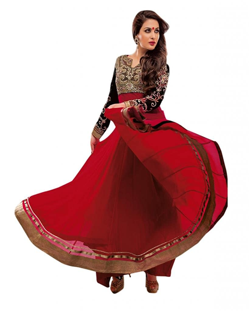 18676d7d6a Ctc Mall Women Faux Georgette Dress Material (1850867 _Red & Black):  Amazon.in: Clothing & Accessories