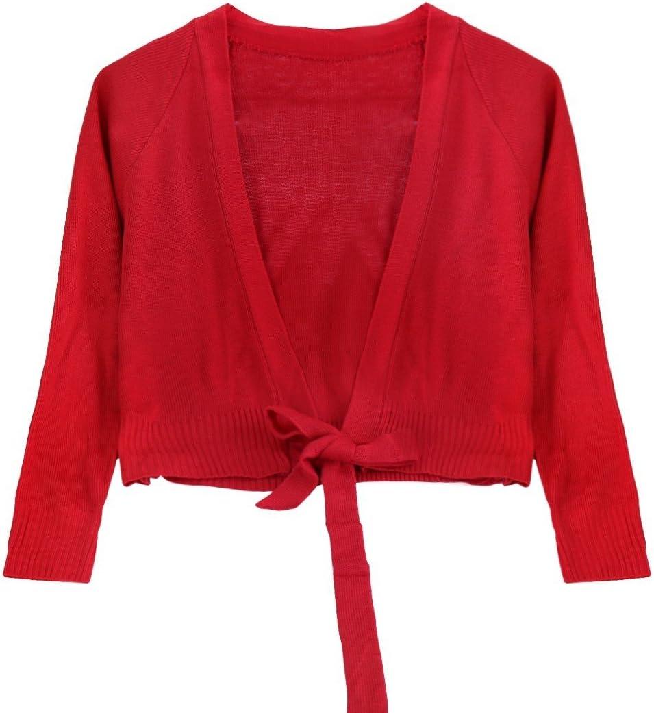 FEESHOW Girls Ballet Sweaters Knit Gymnastics Dance Crossover Cardigan Wrap Costume