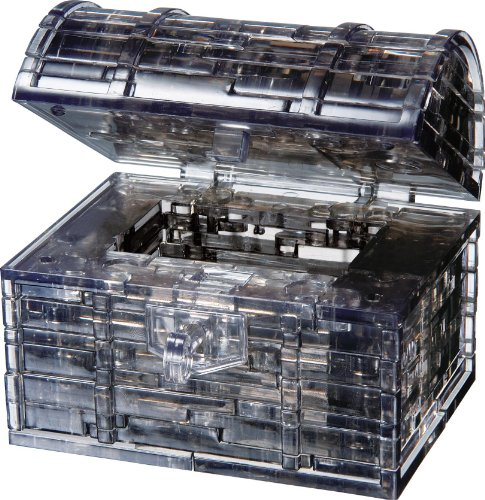 Bepuzzled Original 3D Crystal Puzzle - Treasure Chest, Black - Fun yet challenging brain teaser that will test your skills and imagination, For Ages 12+ (Plastic 3 D Puzzle)