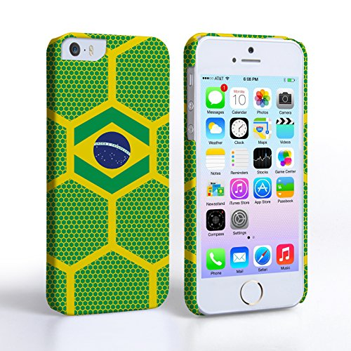 Caseflex iPhone 5 / 5S Hülle Brasilien Fußball Muster Weltmeisterschaft Hart Schutzhülle
