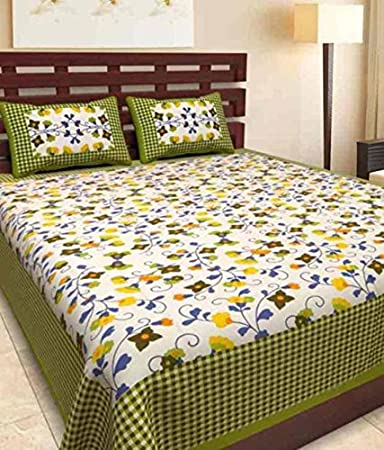 JAIPUR PRINTS Rajasthani Bedsheet For Double Bed