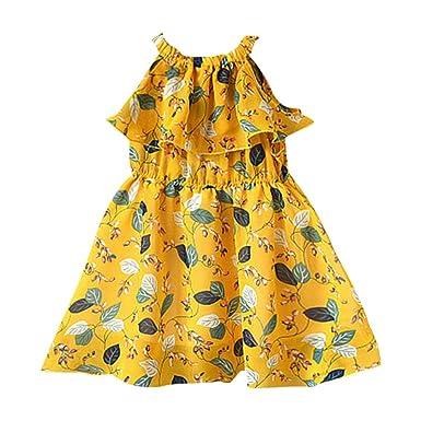 PinkLu Vestido de Falda con Estampado de Hojas con Estampado de ...