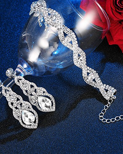 Hanpabum Bridal Wedding Jewelry Set Women Bracelets Dangle Teardrop Earrings Set Women Jewelry Made Clear Crystals (Earings Bracelets) by Hanpabum (Image #6)