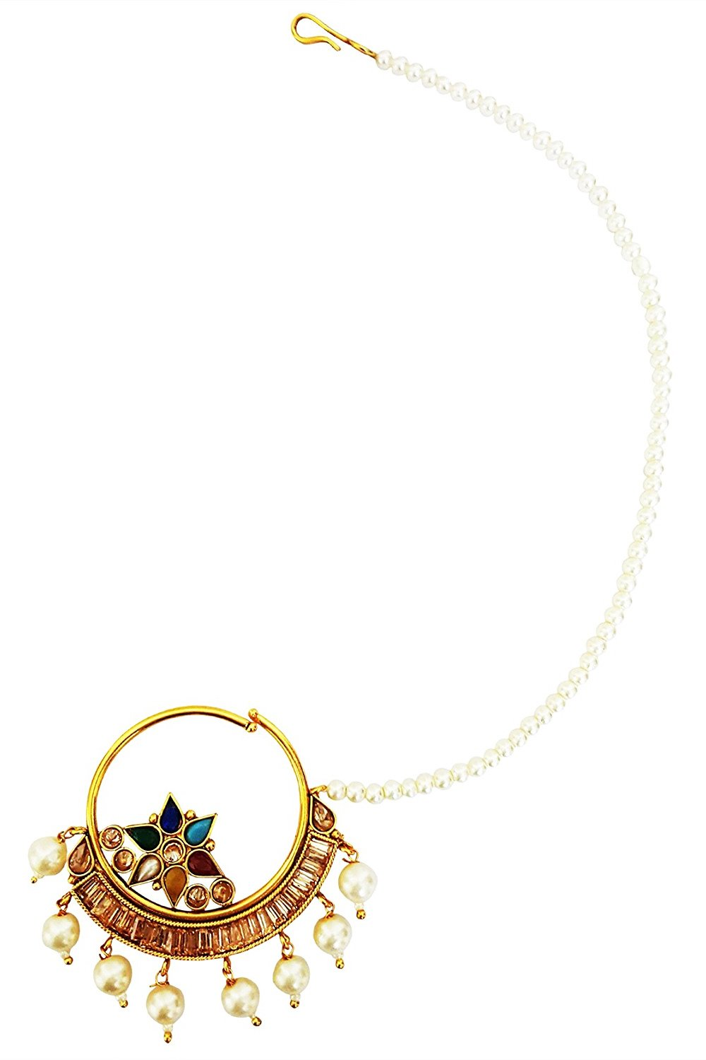 Mehrunnisa Traditional Crystal & Pearl Nose Ring Nath For Girls / Women (JWL1668)