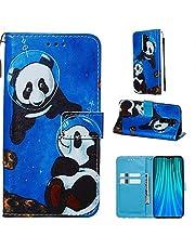 DYGG Compatibel met Case Xiaomi Redmi Note 8 Pro Case Cover PU Lederen Flip Magneet Portemonnee Stand Card Slots Hand Band - Space panda