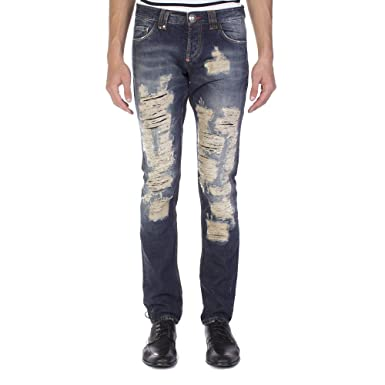 3e8fcf6c923 Image Unavailable. Image not available for. Color: Philipp Plein Men's  Straight Cut Dallas Denim Jeans Pants Blue