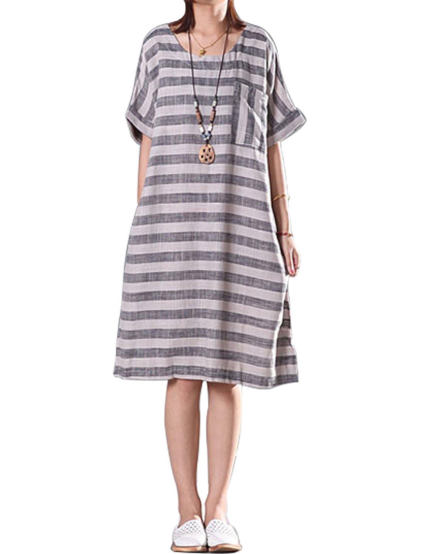 8b345bb4935 Fancy beautystyle Women s Asymmetrical Tunic Dress Striped Dress Loose  Linen Summer Clothing at Amazon Women s Clothing store