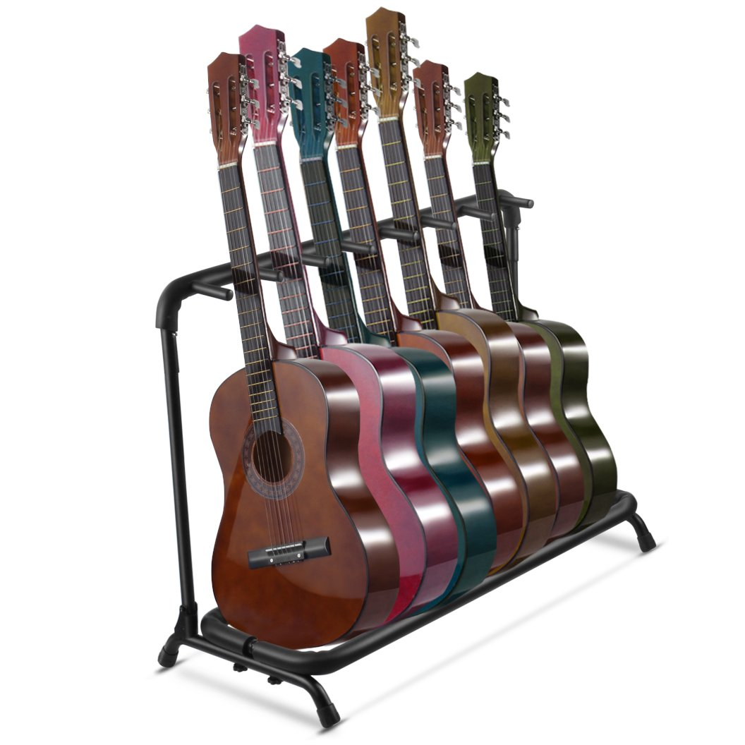 Multi Guitar Stand 7 Multiple Holder Instrument Display Stand Folding Padded Storage Organizer Rack Band Stage Bass Slot for Electric Acoustic Guitar Flexzion STD_GUTR_7H